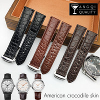 19mm 20mm Crocodile Alligator Skin Watchband for Omega Seamaster DE VILLE Genuine Leather for Rado Watch Bracelet Strap Durable
