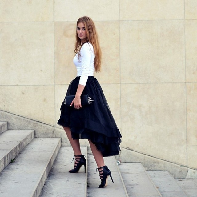 89990af66035 2016 New Fashion Summer Casual High Low Tiered Woman Tulle Satin Skirt  Solid Natural Color Girl Gown Tutu Skirt Women