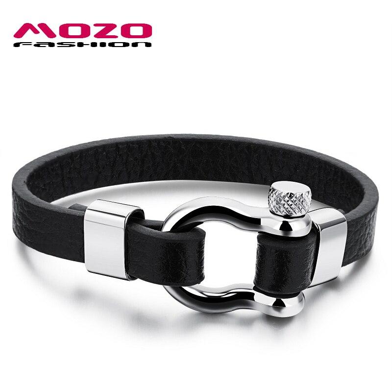 Prix pour MOZO MODE Hommes Charme Bracelet Noir Chaîne En Cuir Vintage Bracelet En Acier Inoxydable Fermoir À Vis Punk Bijoux Pulseras MPH1095