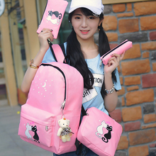 8Pcs Cute Animal Star Printing Backpack Women Canvas Backpack School Bags For Teenagers Girls School Backpack Set Women Bookbags