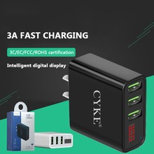 3 Port 5V3A Fast USB Charger Smart Digital Display Charging Head for Tablet Mobile Phone Travel For Iphone X Samsung