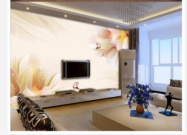 Wallpaper modern d home decoration lily flower butterfly tv wall