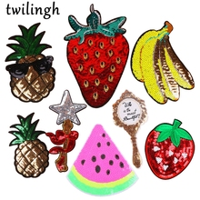 twilingh Patches Sewing Iron-On Accessories Big Fruit Embroidered Sequined For Clothing