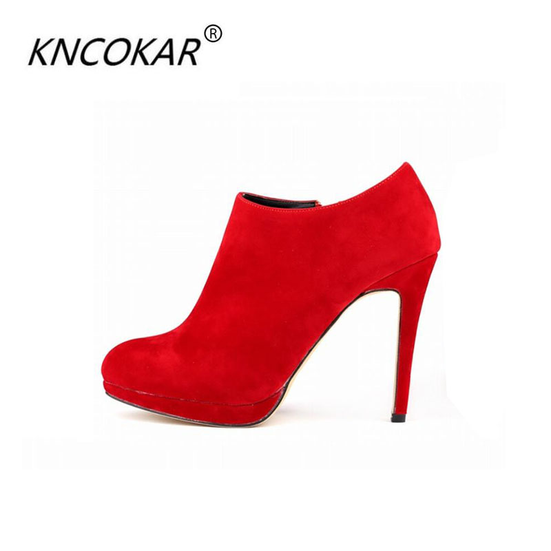KNCOKAR2018 flannelette high-end womens shoes boots round head waterproof ultra-high sheet with short naked fine witKNCOKAR2018 flannelette high-end womens shoes boots round head waterproof ultra-high sheet with short naked fine wit