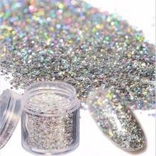1Box 10g Sliver Holographic Glitter Laser Powder Symphony Manicure Nail Art Acrylic Shiny Holo Pigments