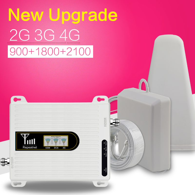 2G 3G 4G Triple bande téléphone portable Signal Booster 70dB GSM 900 LTE 1800 WCDMA 2100 mhz Mobile cellulaire répéteur de signal Antenne Ensemble