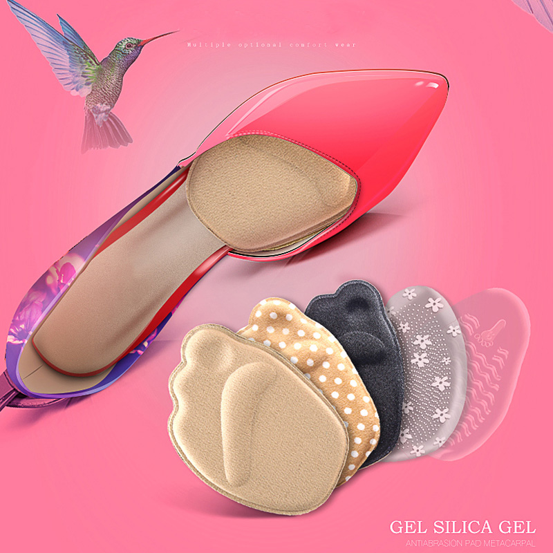 1 Pair Women Forefoot Thick Anti slip Foot Pad High heeled Shoes Female Half Pad Half foot Half Yards Insoles Pain proof Comfort in Inserts Cushions from Shoes