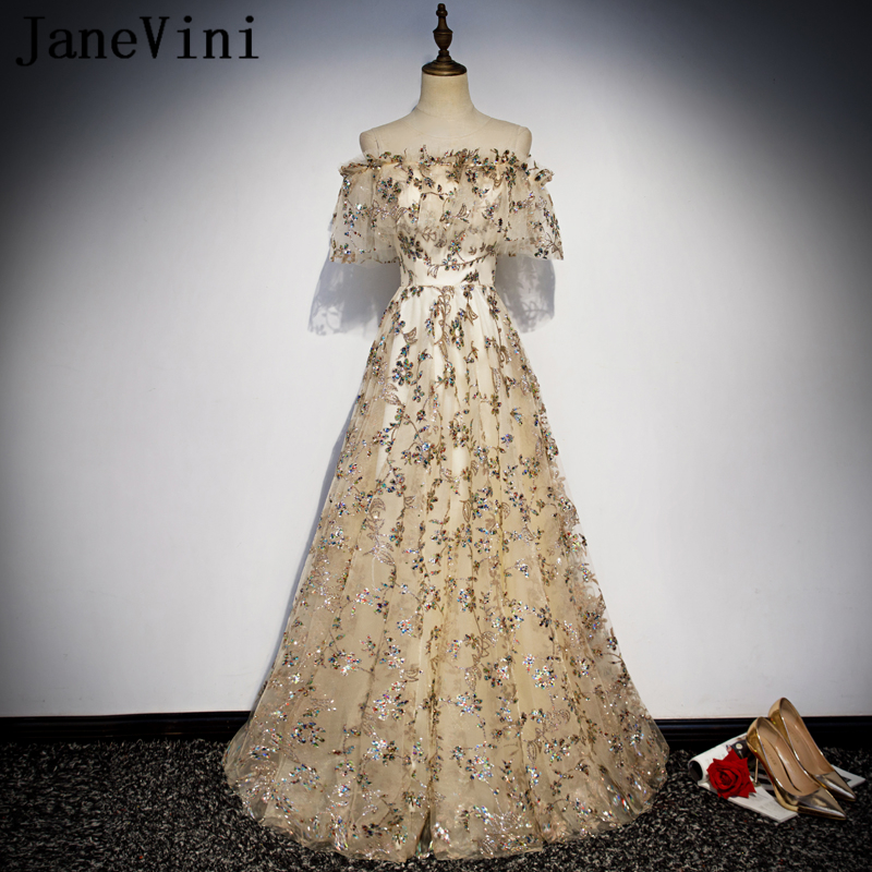 JaneVini Champagne   Prom     Dresses   Long Elegant 2019 Off the Shoulder Sparkle Sequined A Line Women Formal Party Gowns Floor Length