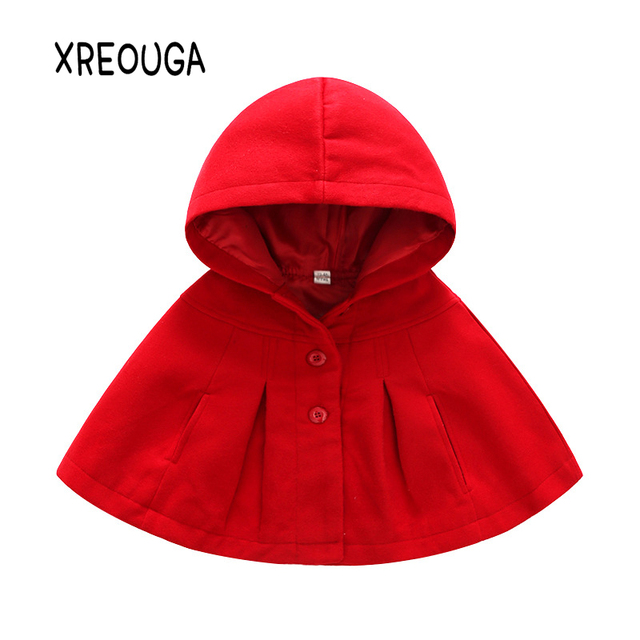 bfd2559e3 Baby Girls Red Hooded Cape Coat Bowtie Wool Blend Poncho Winter Bating  Sleeve Cloak Clothes Children Christmas Clothing HMW03