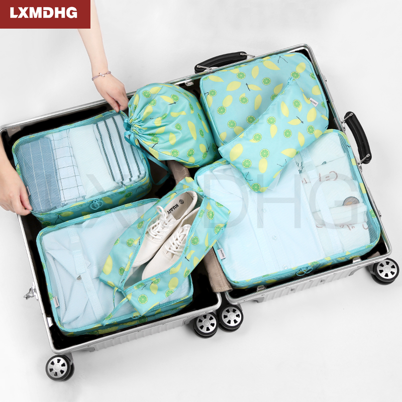 7PCS Travel Storage Bags Shoes Clothes Toiletry Organizer Waterproof Luggage Pouch Kits Portable Multifunction Home Organization