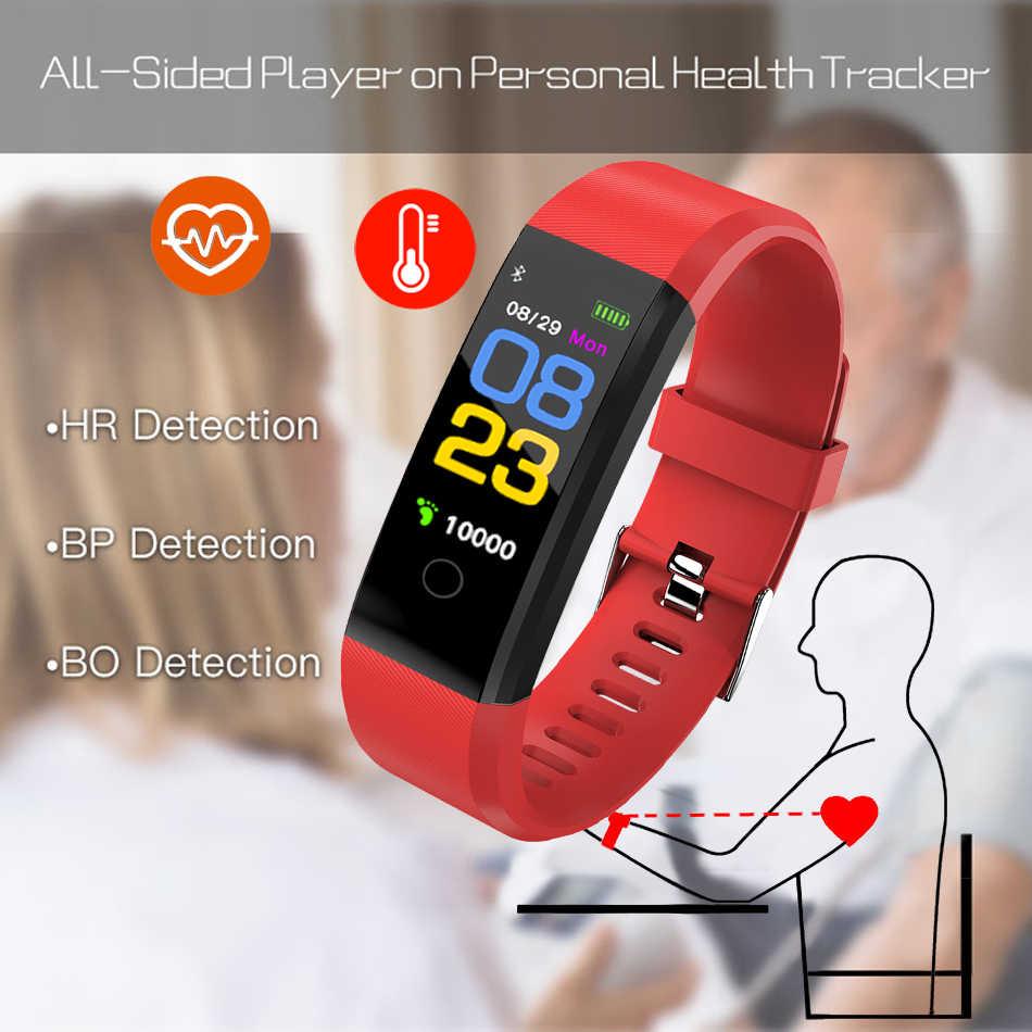 بلوتوث ساعة ذكية الرجال النساء مراقب معدل ضربات القلب ضغط الدم سوار لياقة بدنية Smartwatch الرياضة ساعة ل ios أندرويد + صندوق