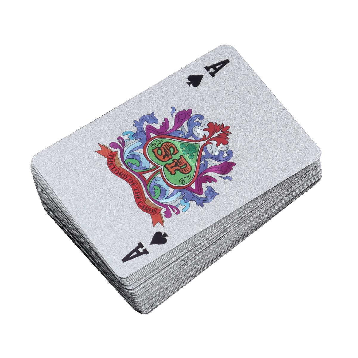 Позолоченные игральные карты из фольги, 100 доллар, покер, настольные игры, Джокер, колода (серебро)