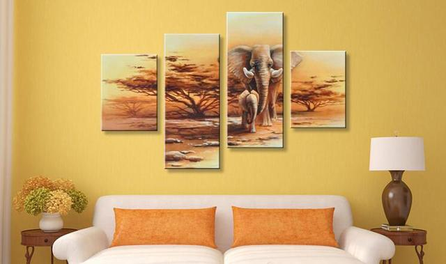 4 Pieces Canvas Painting African Modern Art Elephants Live Wall ...