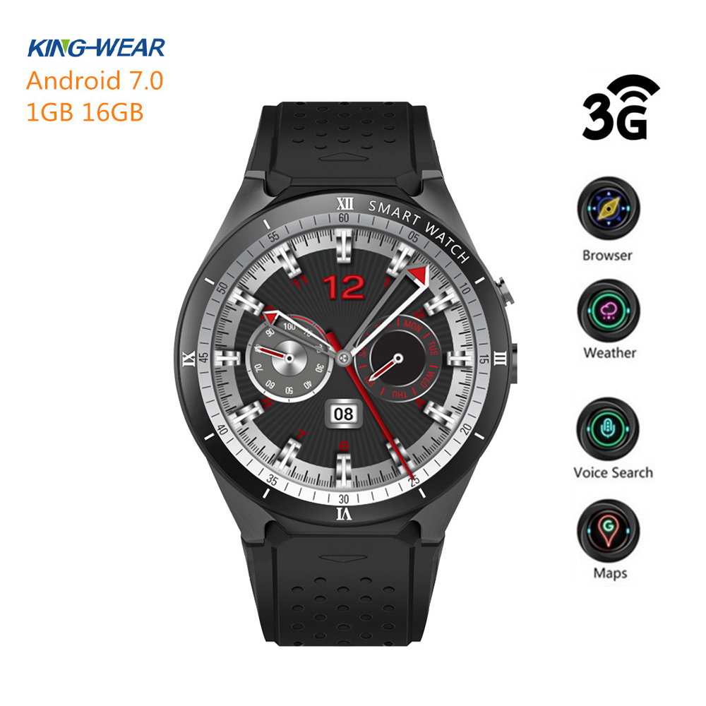 KingWear KW88 Pro 3G Smartwatch Phone Android 7.0 Quad Core 1.3GHz 1+16 GB Bluetooth 4.0 Smart Watch Phone GPS Wearable Devices