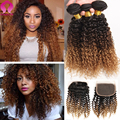8A Honey Blonde Bundles With Closure Brazilian Kinky Curly Virgin Hair 3 Bundles With Closure Tissage Bresilienne Avec Closure