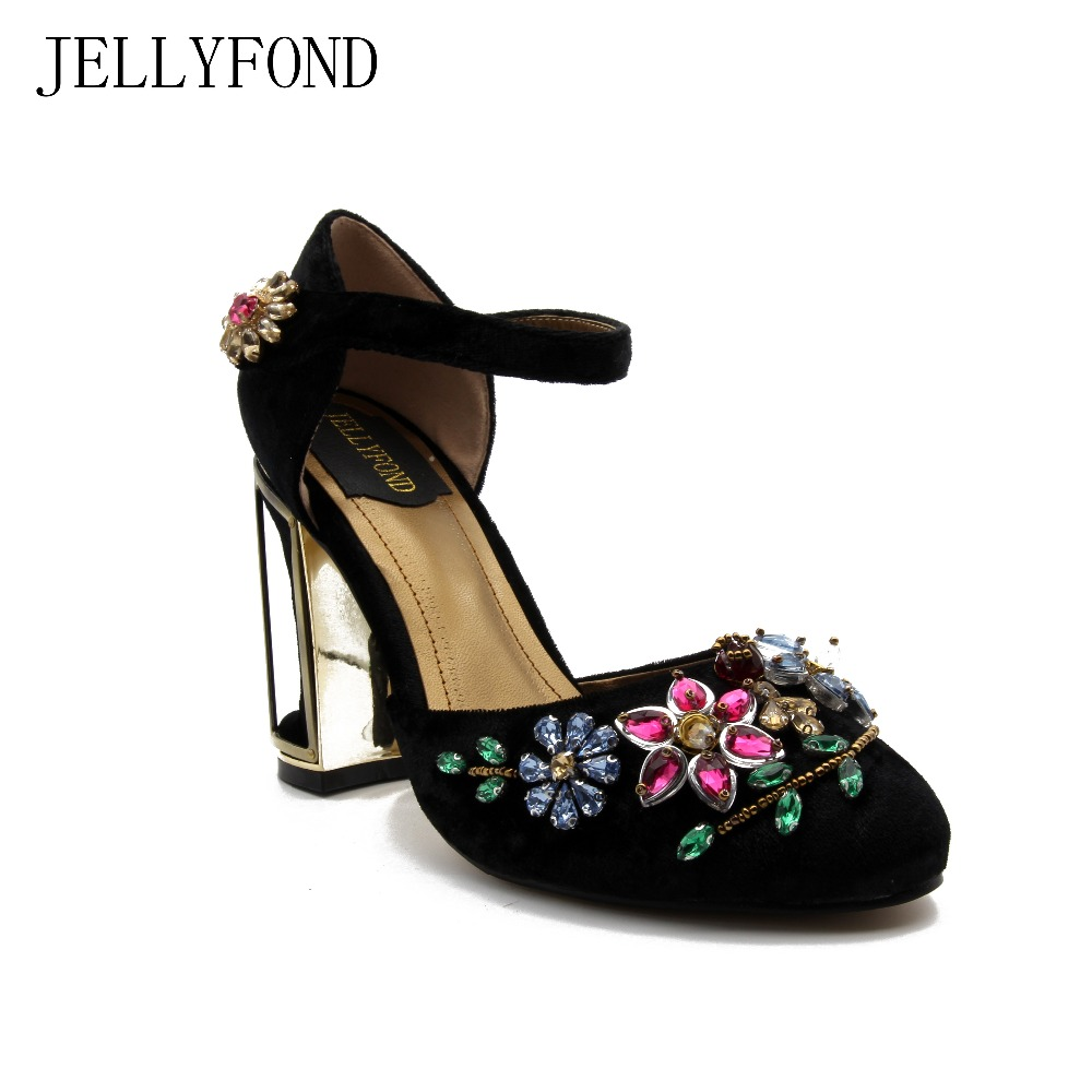 Фотография JELLYFOND Flower Crystals Women Vintage High Heels Black Velvet Thick Heel Gladiator Shoes Woman Party Prom Pumps JF022