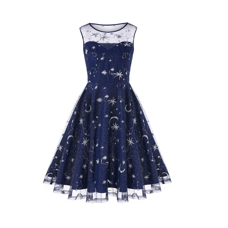 Retro Fashion Summer <font><b>Dress</b></font> Mesh <font><b>Snow</b></font> Monn Embroidery <font><b>Dresses</b></font> Women Elegant Sleeveless Vestidos Big Swing <font><b>Dresses</b></font>
