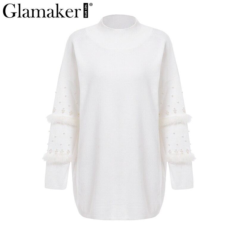 Glamaker Pompom fur pearl knitted long jumper Women grey turtleneck summer sweater Female loose spring pullover pull femme 2018