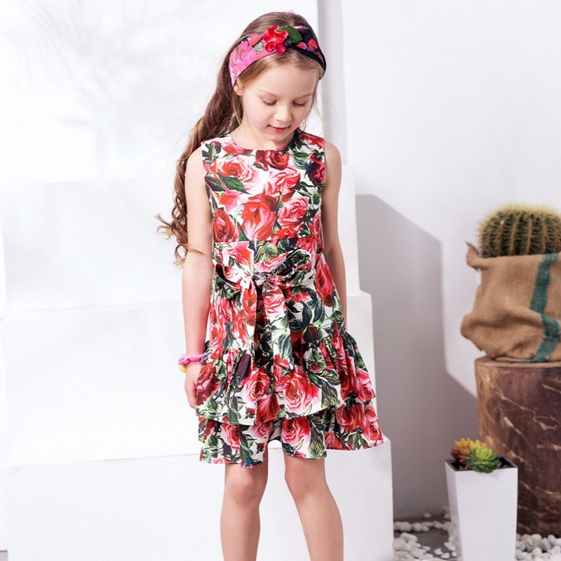 Girls Dress Summer 2017 A-Line Sleeveless Girls Clothes for Girls Princess Dress with Bow Rose Flower Girl Dresses for Party