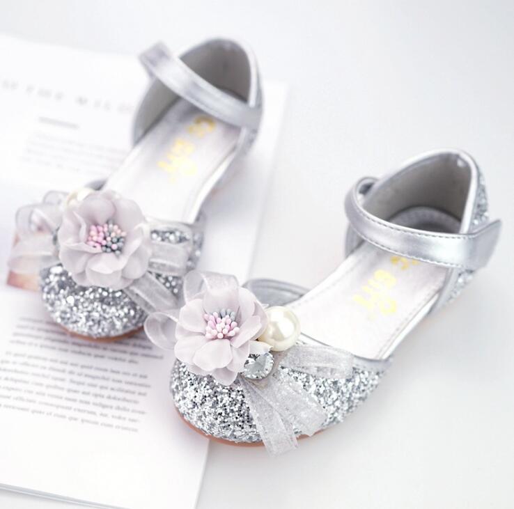 Exquisite flower girl shoes bow ribbon princess dance shoes sequin kids baotou casual student children performance Half sandals