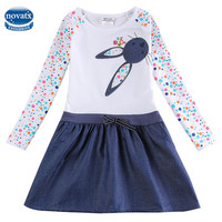 Girl Dress Nova Brand Long Sleeves Baby Clothes Embroidery Cats Girls Knee Length Fashion Kids Clothes