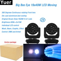 2Pcs/Lot 19x40w Big Bee Eye led moving head zoom DMX512 wash light RGBW 4IN1 Beam graphic effect light party bar dj stage light