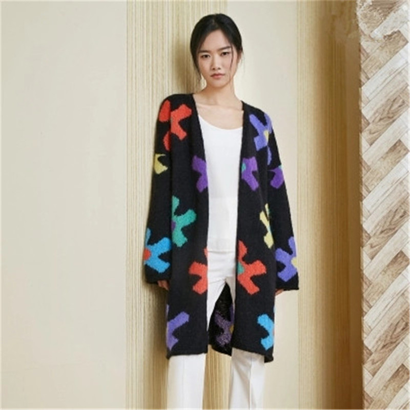 100% hand made wool Vneck knit women fashion contrast color floral H straight thin long cardigan sweater customized