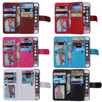 For Iphone 5 5s Se 6 7 Plus Practical Magnetic 9 Card Slot Leather Flip Wallet
