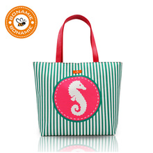 BONAMIE Brand Design Women Handbag Girl Lady Stripe Waterproof Lining Beach Bag Female Fashion Ocean Mermaid Anchor Shoulder