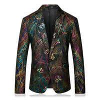 Chaqueta de hombre de manga larga de negocios Casual Slim Fit colorido patrón de impresión de boda traje chaqueta de fiesta escenario cantante estilista de pelo