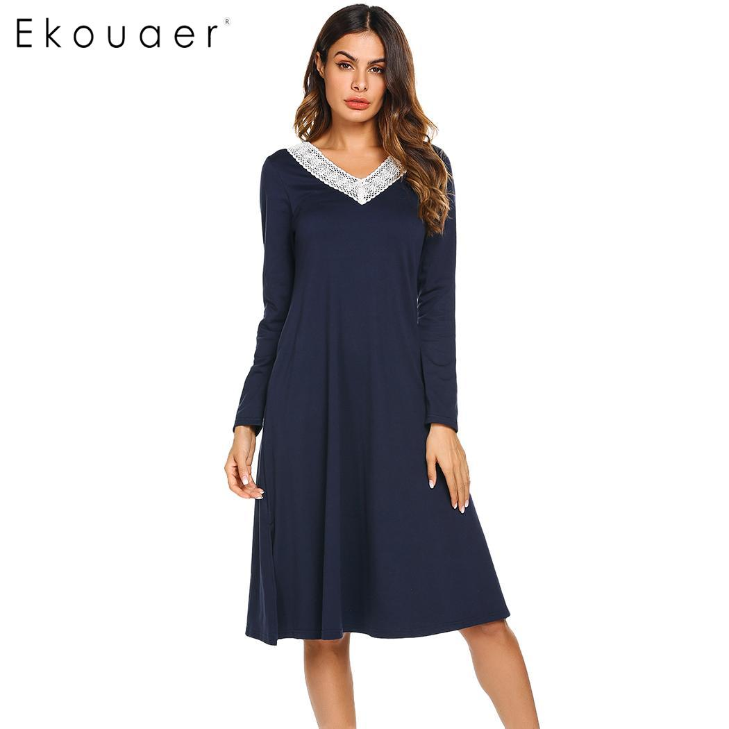 Image 1 - Ekouaer Nightgowns Sleepshirts Long Sleeve Sleepwear Casual Women Lace V Neck Loose Long Nightdress Nightgown Home Dress Autumn-in Nightgowns & Sleepshirts from Underwear & Sleepwears