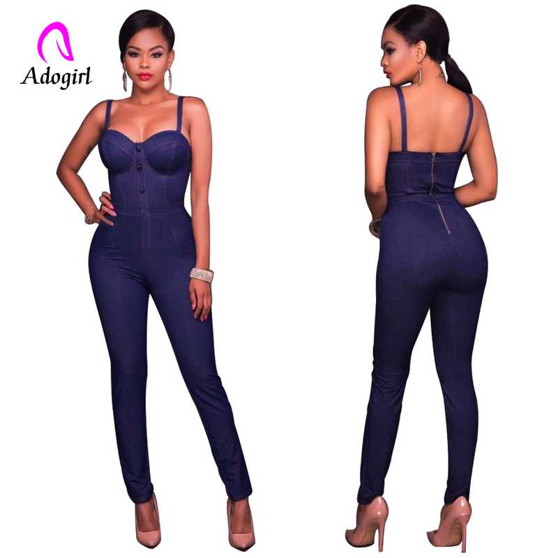 Sexy Off Shoulder Women   Jumpsuit   Romper Elegant High Waist Denim   Jumpsuit   Long Summer Skinny Lady Jeans Playsuit Overalls 2019