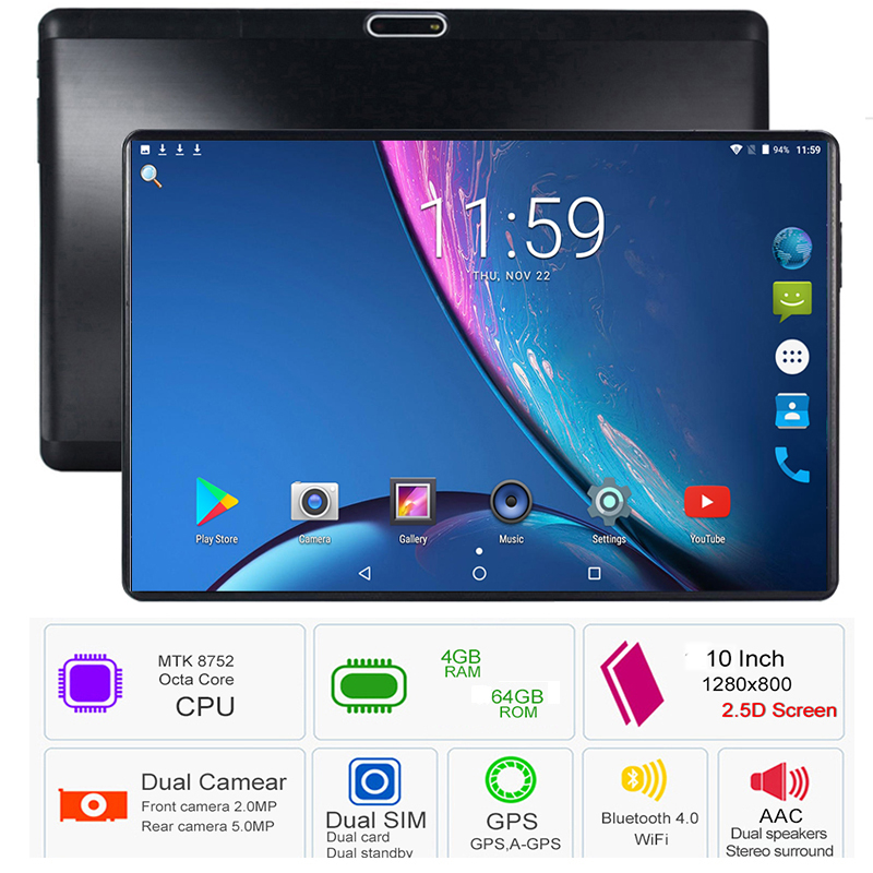 10 pouces tablette Support Youtube Octa Core 4 GB RAM 64 GB ROM 3G 4G FDD LTE appel téléphonique Android 8.0 tablette GPS WIFI 1280X800 IPS Pad