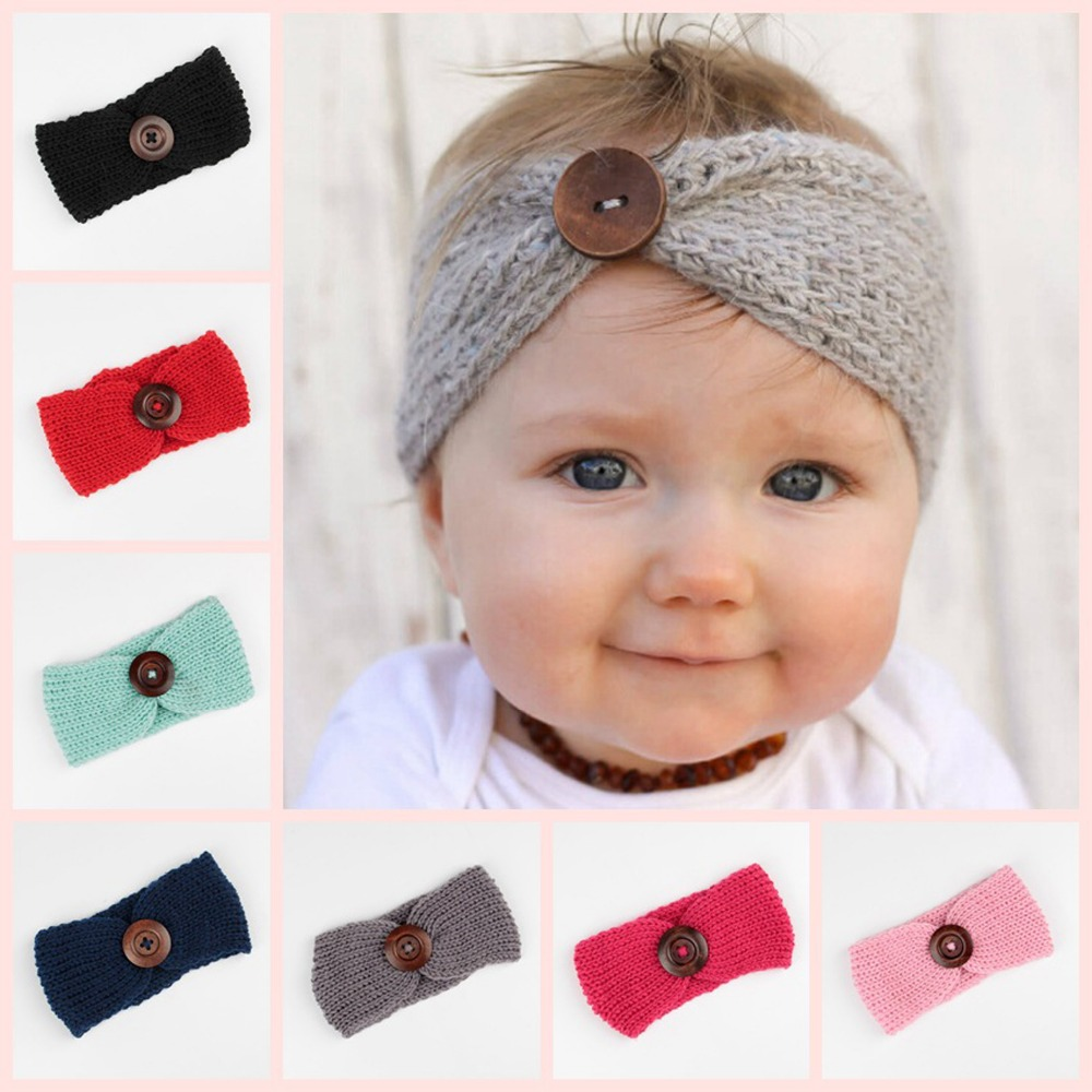 Newborn Turban Ear Winter Warm Headband Crochet Knitted Hairband Headwrap Hair Band Accessories for Baby Girl Infant Toddler