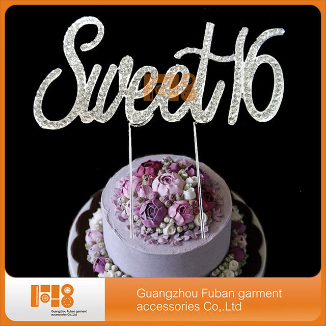 (30pcs/lot)Crystal Rhinestone Wedding Cake Topper Decoration  Sweet 16 For  Wedding