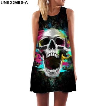 Colorful Skull Head Howling 3D Women Dress Tunic Sleeveless A Line Mini Party Dress Bone Skeleton Robe Femme Summer Beach Jurken