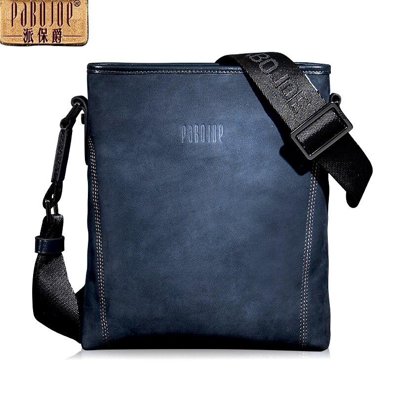 Pabojoe Brand Genuine Leather Men Messenger Bag Solid Casual Crossbody Bag Business Men's Shoulder Bags pabojoe duffle bags 100