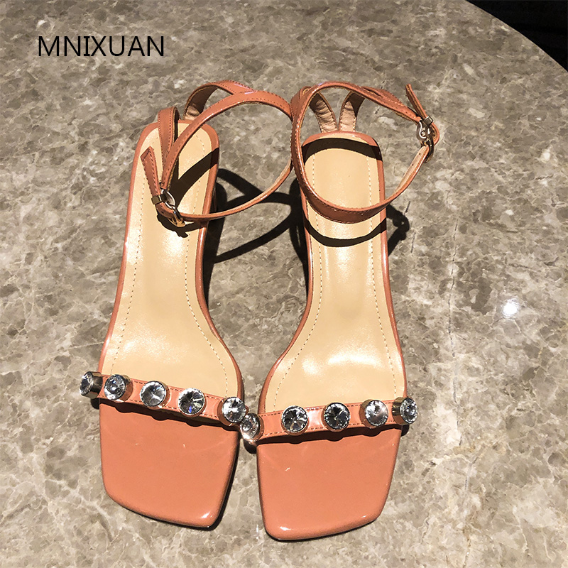 MNIXUAN Fashion summer luxury brands women shoes sandals high heels 2019 new patent leather square toe rhinestone big size 34 42-in High Heels from Shoes    3