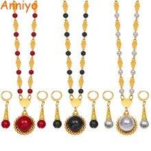 Anniyo Colgante de perlas Marshall para mujer, cuentas redondas juego de collares de joyería, Color dorado, Guam Micronesia, joyería hawaiana, #164606