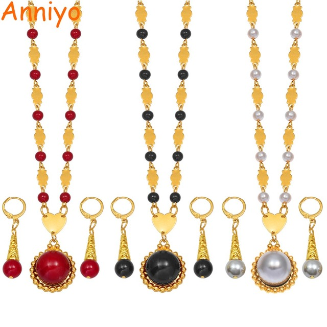 Anniyo Marshall Pearl Pendant Ball Beads Necklaces Jewelry Set Women Gold Color Guam Micronesia Jewelry Hawaii Gift #164606