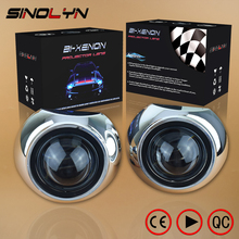 Car Styling Mini 2.5 inch HID Bixenon Projector Headlight Lens Automobiles Headlamp Lenses Retrofit Kit H1 Iris Shrouds H4 H7