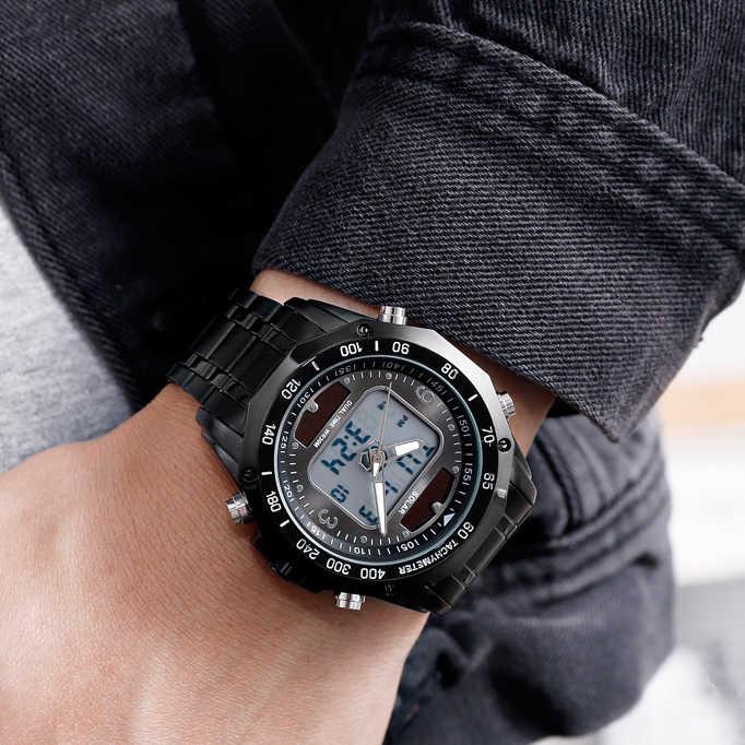 יוקרה למעלה מותג שמש Mens שעונים גברים ספורט שעונים גברים של קוורץ LED הדיגיטלי מלא פלדת גברים צבאי שעון יד שעון זכר