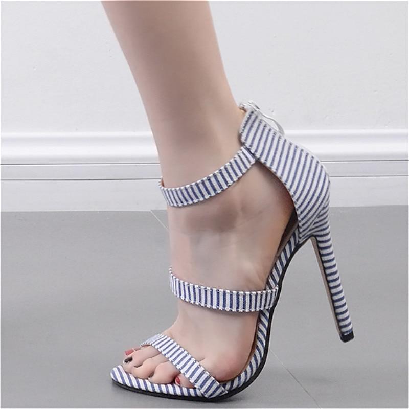 21b409a59 JINJOE mulher sapatos Simples sapatos de salto alto salto Alto estilo Naval  dos dedos dos pés saltos Finos zipper sapatos sandálias de festa bombas em  ...