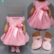 Baby doll clothes for 43-45cm toy new born doll and american doll Pink dress evening dress princess dress(China)