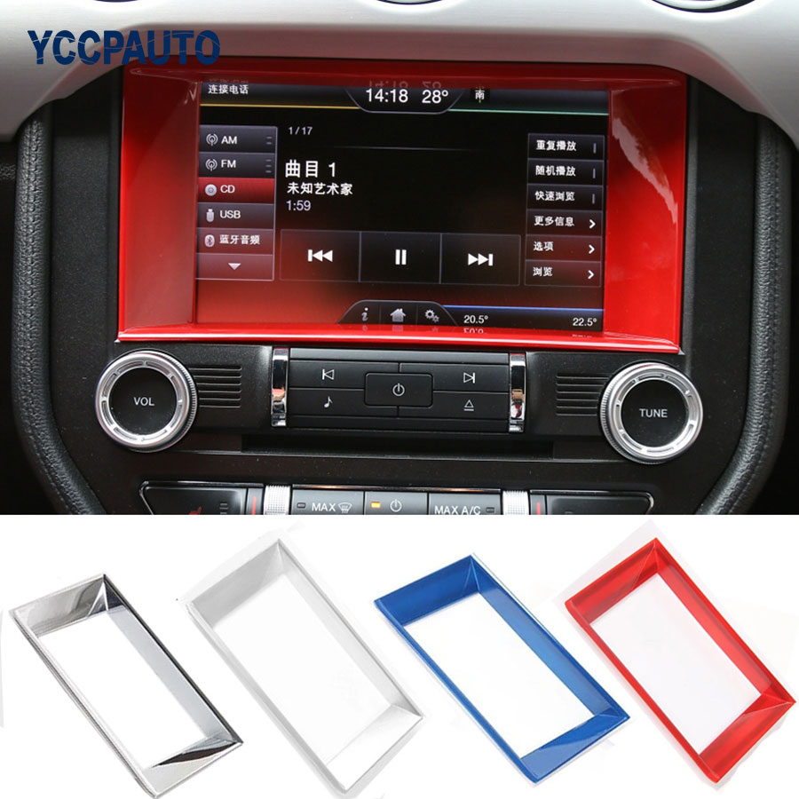 car styling Central Control Panel Navigation Frame Cover Sticker For Ford Mustang 2015 16 17 Up Car Interior Accessories ABS free shipping car refitting dvd frame dvd panel dash kit fascia radio frame audio frame for 2012 kia k3 2din chinese ca1016