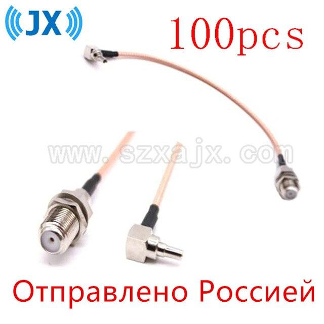 Jx rus estoque 100 peças f para crc9 cabo f fêmea para crc9 ângulo direito rg316/rg174 trança cabo 10 60cm para huawei 3g/4g usb modem