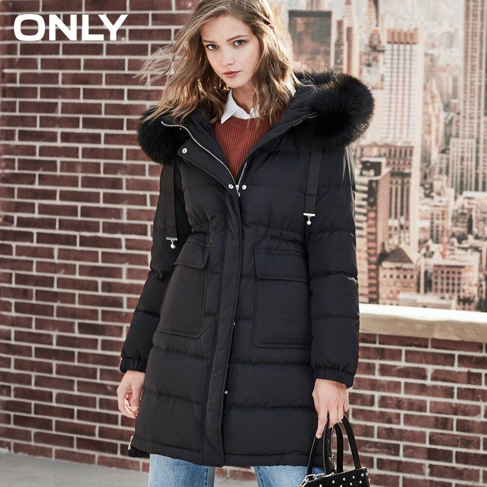 ONLY women's hiver nouveau simple col en fourrure de renard long doudoune perlée cordon latéral fermeture éclair fentes | 118323523