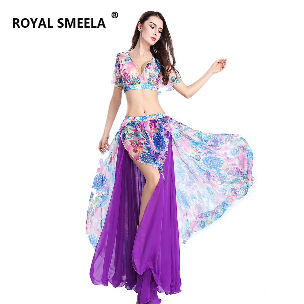 Hot Sale Free Shipping 2019 Sexy fashion swing belly dance suit bellydance costume wear Belly dance cloths Top&Skirt -ZH8809