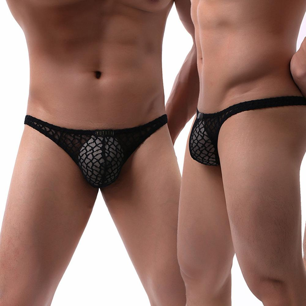 Underwear T-Back Men's Lace Transparent Sexy Solid New Gift for Lovers A55 Intimates