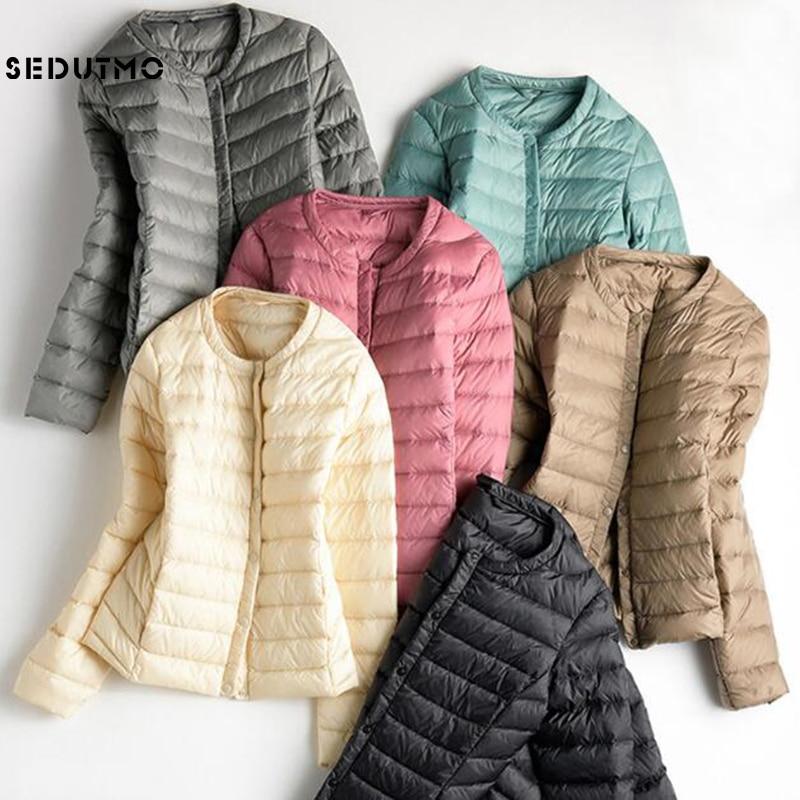SEDUTMO 2018 Spring Plus Size 3XL Womens Down Jackets Ultra Light Duck Down Coat Slim Short Black  Autumn Women Jacket ED079